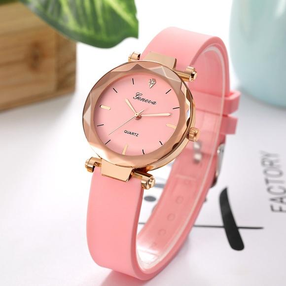 NEW Pink Geneva Quartz Watch